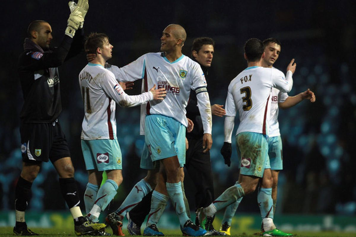 PORTSMOUTH ENGLAND - JANUARY 25:  Burnley celebrate after beating Portsmouth in the npower Championship match between Portsmouth and Burnley at Fratton Park on January 25 2011 in Portsmouth England.  (Photo by Bryn Lennon/Getty Images)