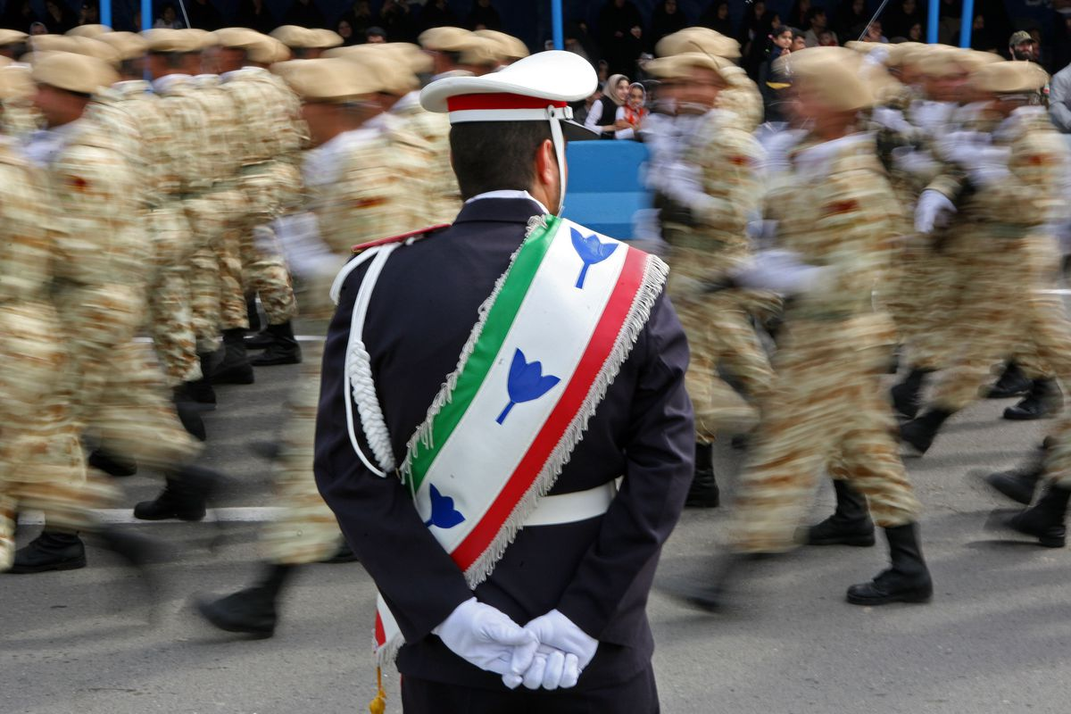 Iran's Revolutionary Guards Corps at an Army Day military parade in Iran.