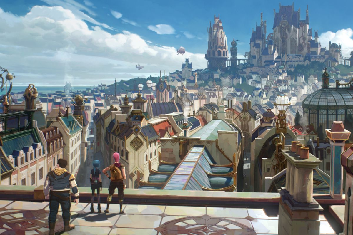 Two young girls and a young boy stare out at the futuristic city of Piltover, in Arcane