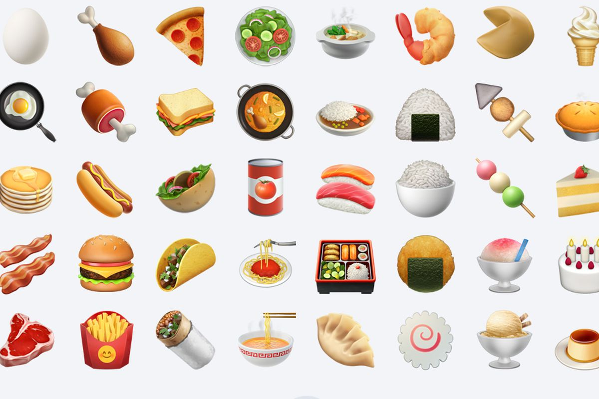 A selection of Apple's food emoji