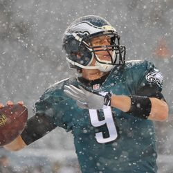 Foles Warms Up
