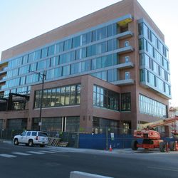 A look at the Hotel Zachary.Some new steel is up on the second level, flanking the main entrance