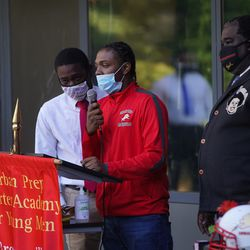 Miles Rowe (center) speaks about Rashad Verner at his memorial. Anthony Vazquez/Sun-Times