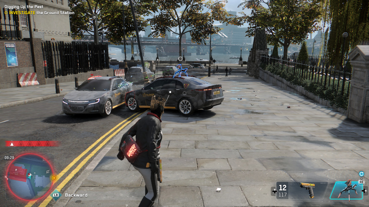 Spiderbot Watch Dogs Legion shoots from a car