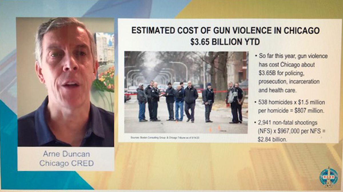 Arne Duncan, a former U.S. education secretary and former CEO of Chicago Public Schools, spoke at a virtual meeting of the City Club of Chicago on Wednesday.