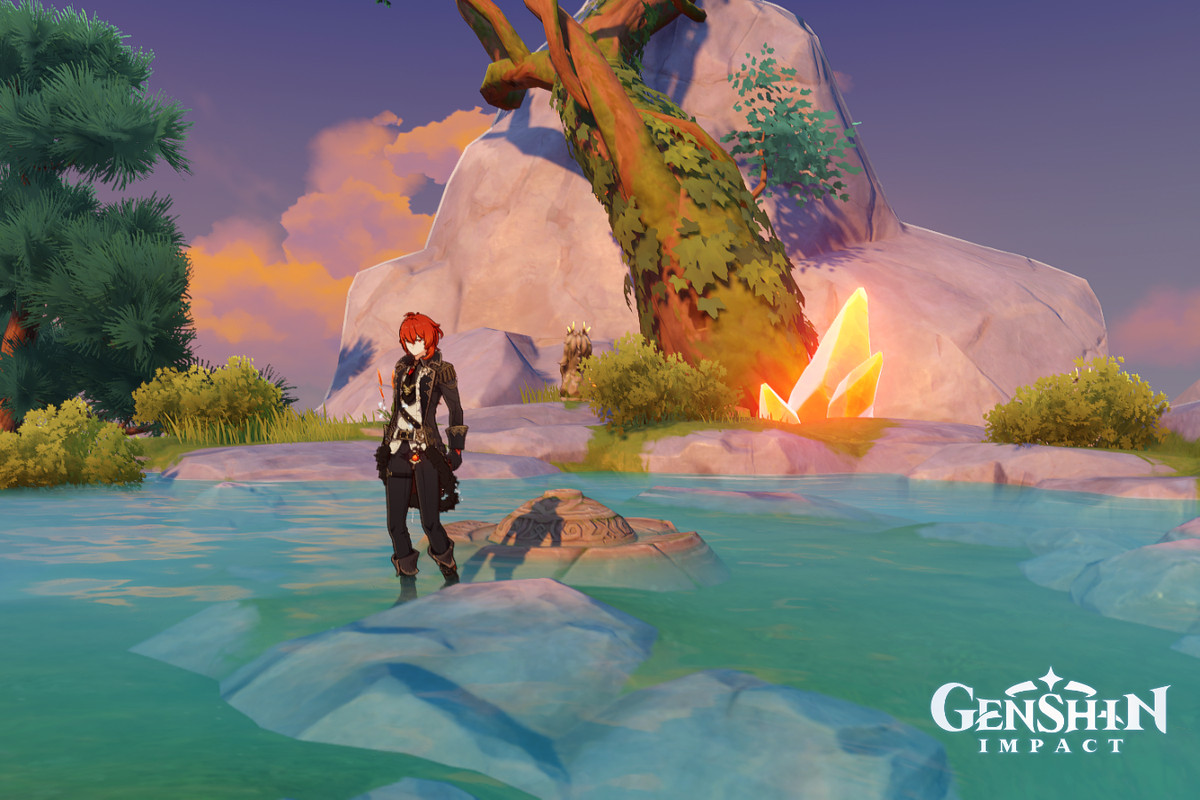 Diluc, a red-haired character in a suit, stands in a pond near some orange glowing amber