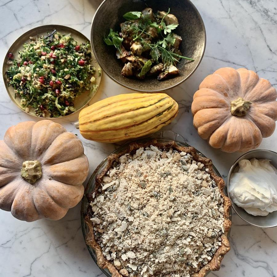 Brussels sprouts tabbouleh, gourds, small pumpkins, and a pie