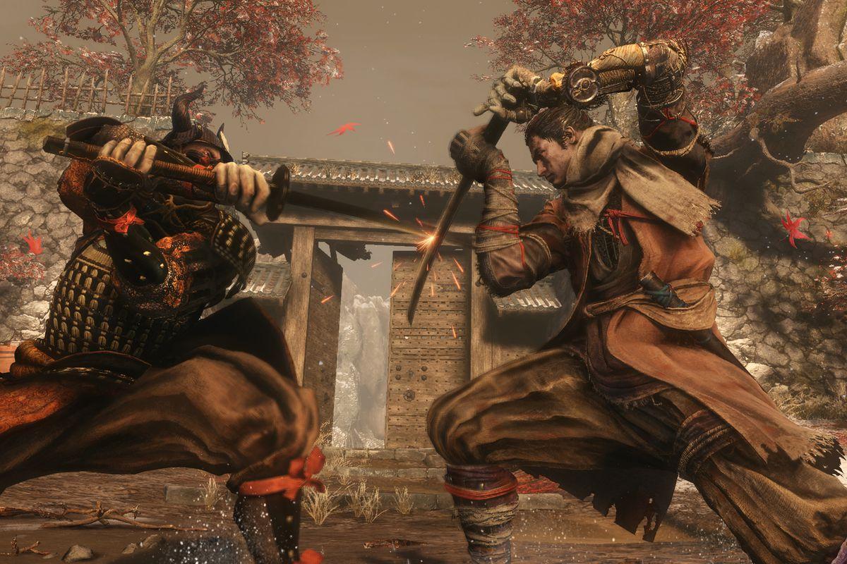 Sekiro clashes with a samurai in a screenshot from Sekiro: Shadows Die Twice