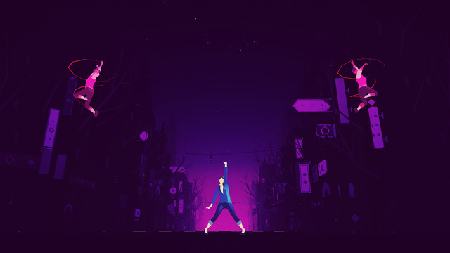 A neon-colored woman thrusts her hand in the air triumphantly