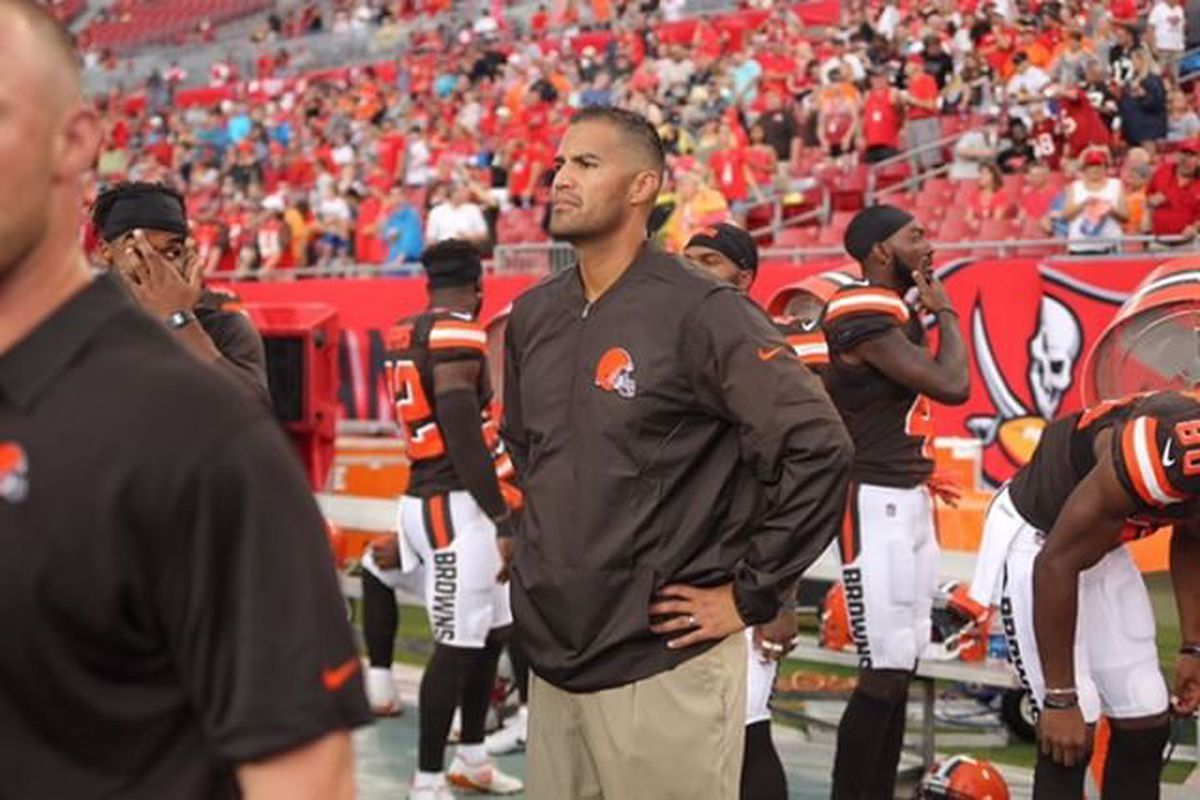 Justin Su'a stands on the sideline at a Cleveland Browns game.