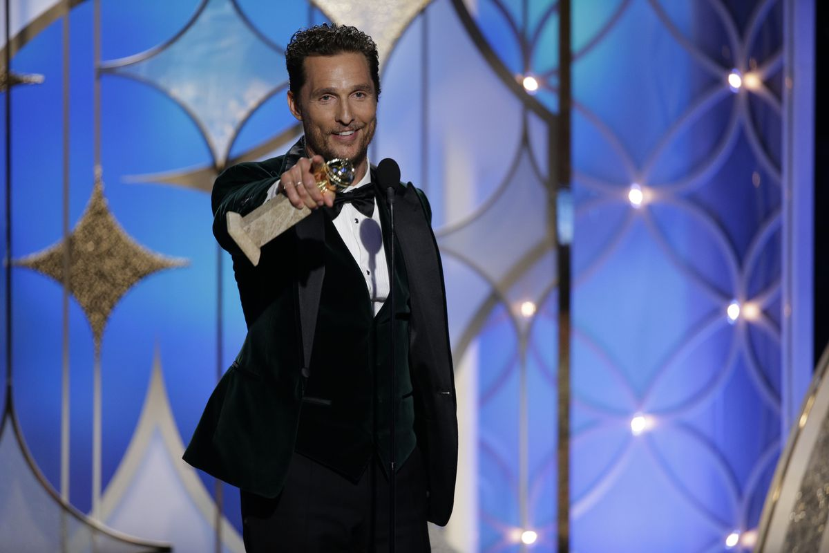 Matthew McConaughey accepts his Golden Globe for his work in Dallas Buyers Club earlier this year.