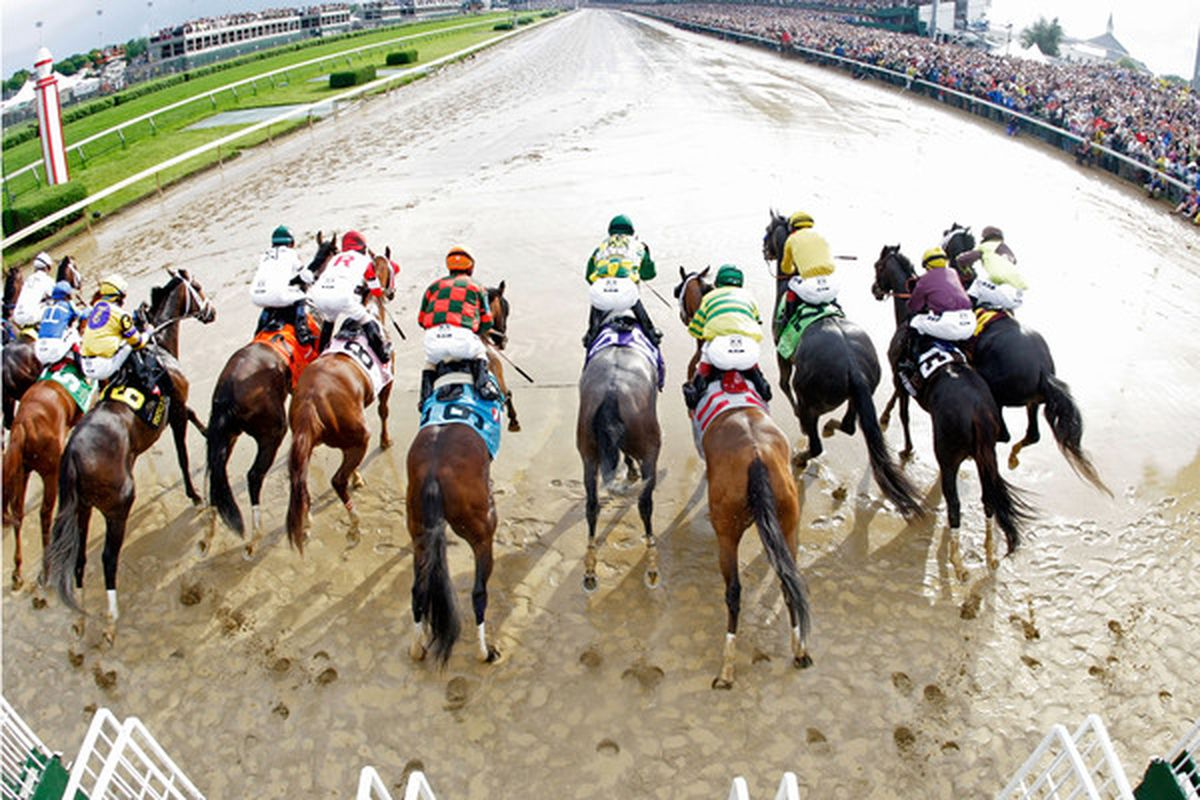 LOUISVILLE, KY - MAY 01:  The field leaves the gate at the start of the 136th running of the Kentucky Derby on May 1, 2010 in Louisville, Kentucky.  (Photo by Andy Lyons/Getty Images)