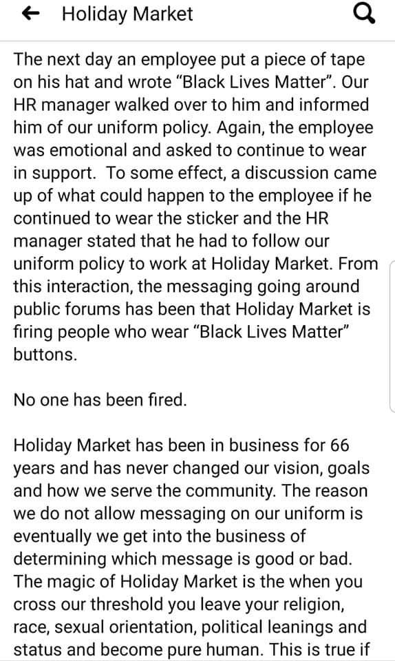 A screenshot of the second half of Holiday Market's statement.