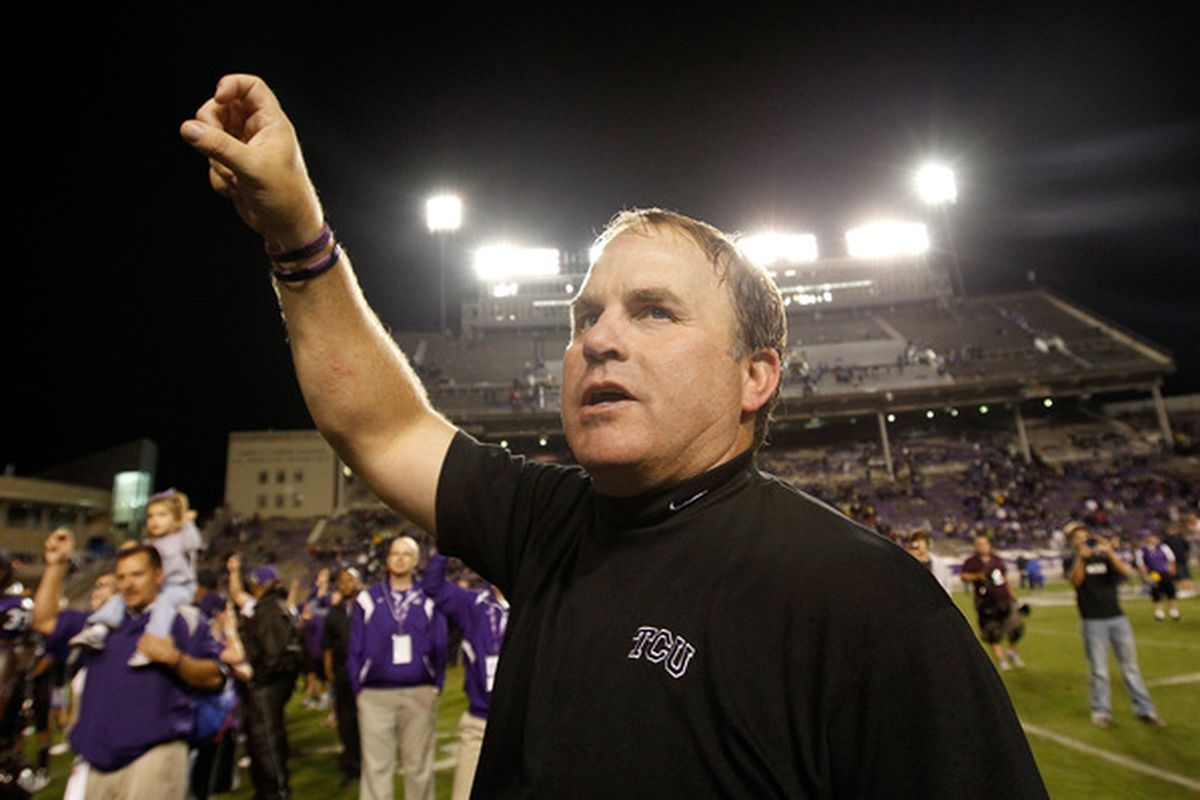 FORT WORTH TX - OCTOBER 23:  Head coach Gary Patterson (Photo by Tom Pennington/Getty Images)