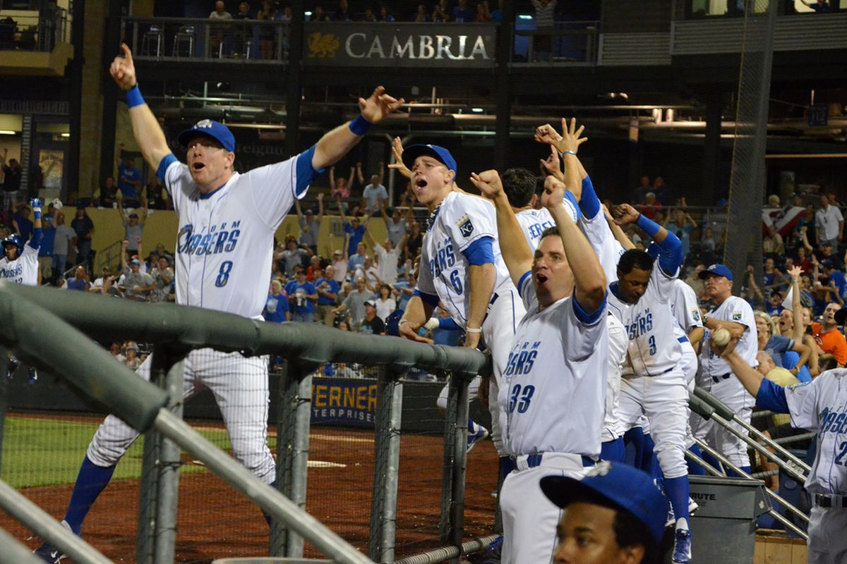 The Storm Chasers react to the three-run home run by Gorkys Hernandez