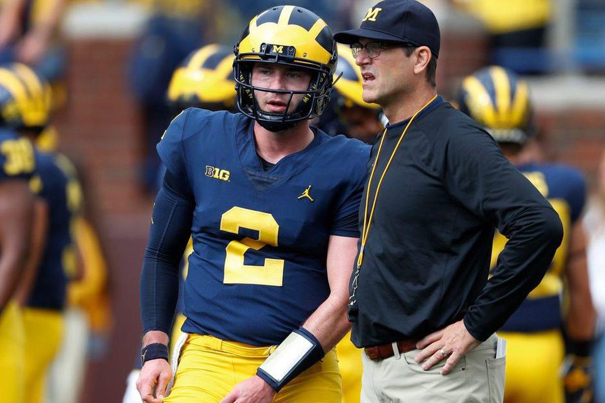 31aacd70431 With Shea Patterson at quarterback, Jim Harbaugh has his best chance to win  big at Michigan. (AP/Paul Sancya)