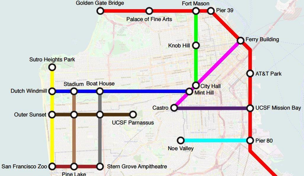Subway Map Bike.Brilliant San Francisco Bike Map Looks Like A Subway Map Curbed Sf