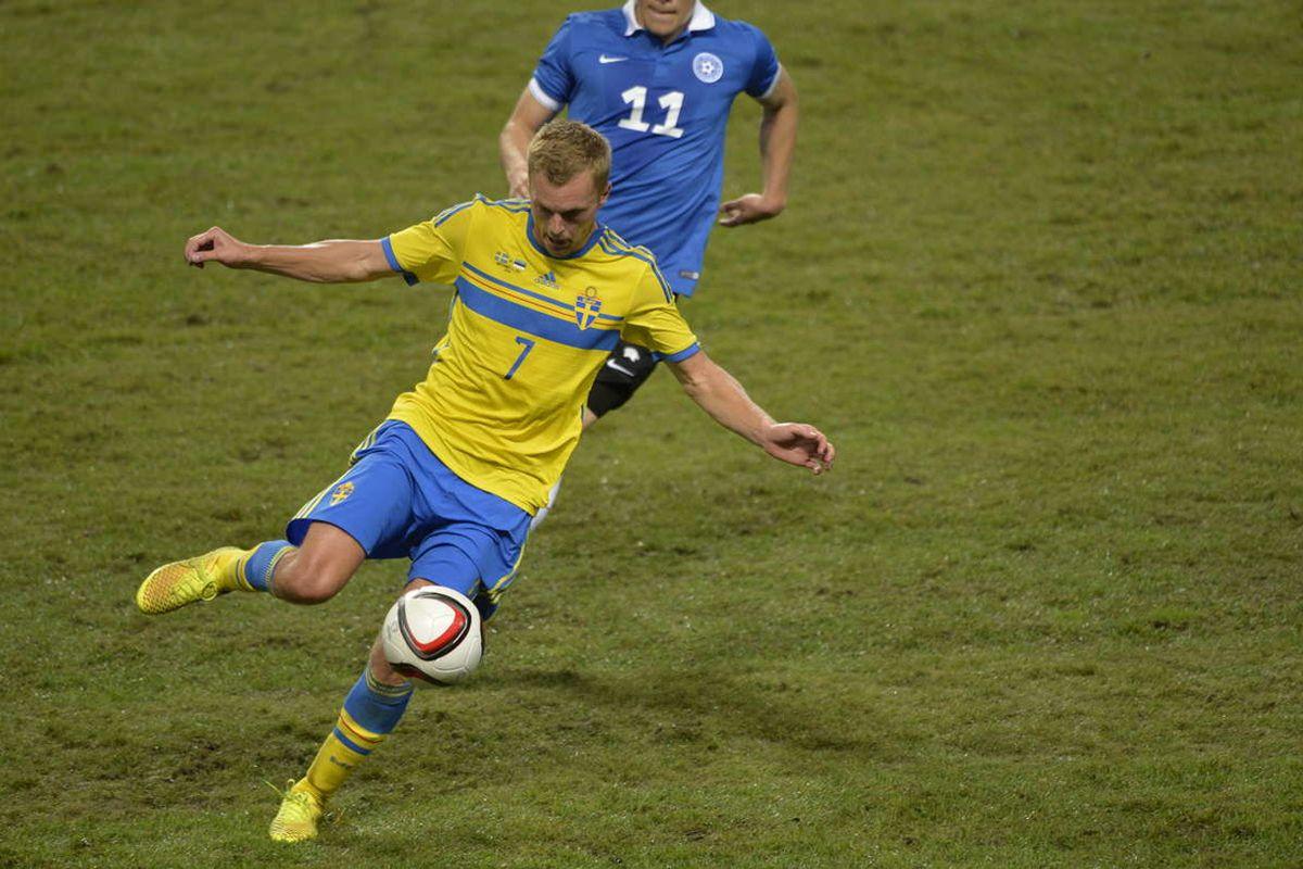 Seb Larsson in action against Estonia.