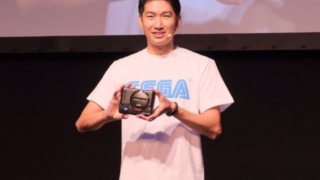 The Mega Drive Mini, being unveiled at Sega Fest in Japan.