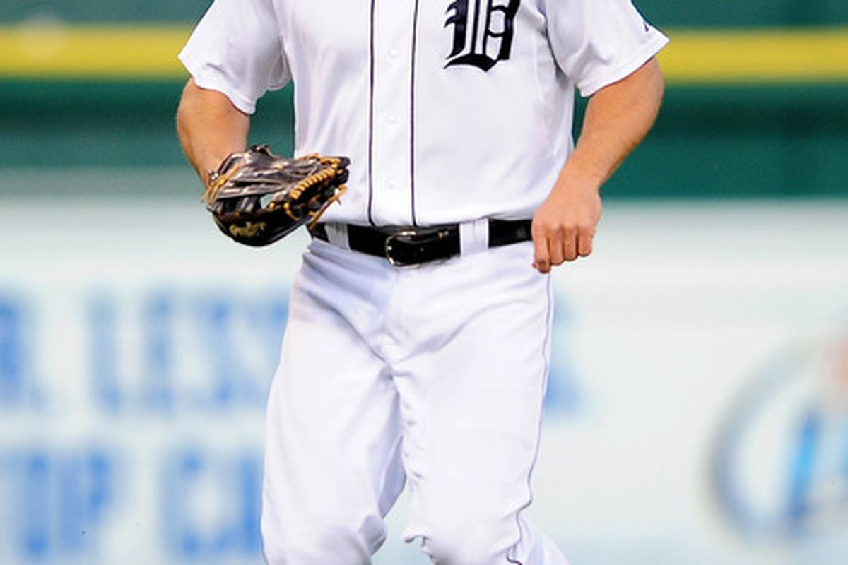 May 16, 2012; Detroit, MI, USA; Detroit Tigers left fielder Andy Dirks (12) against the Minnesota Twins at Comerica Park. Mandatory Credit: Andrew Weber-US PRESSWIRE