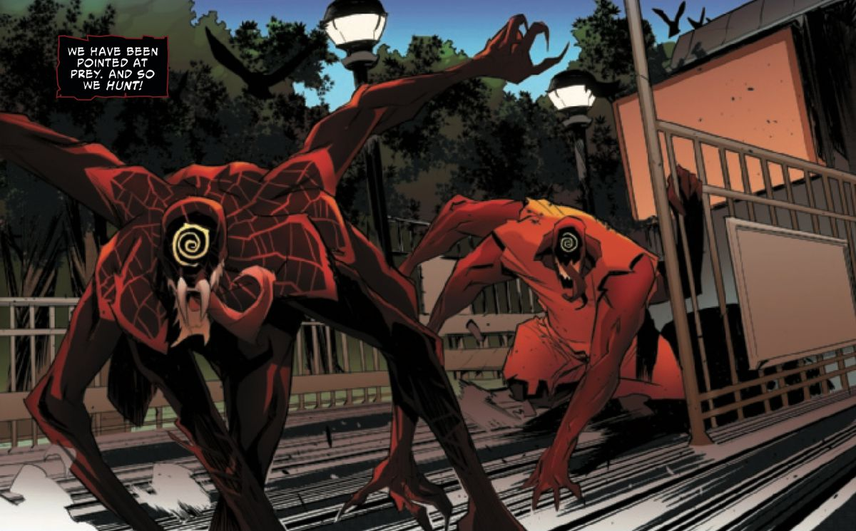 Miles Morales, merged with a Carnage symbiote, followed by another Carnage symbiote lackey, storming out of a subway station, in Absolute Carnage: Miles Morales #2, Marvel Comics (2019).
