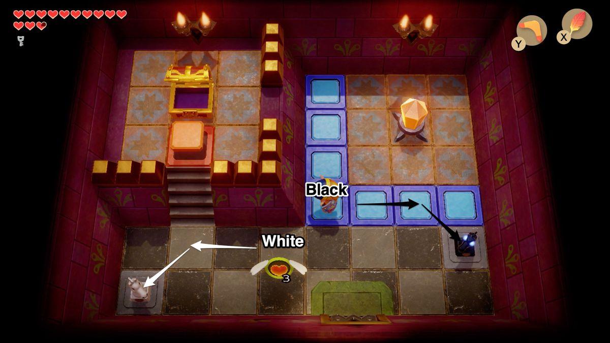 Link's Awakening Face Shrine third chess puzzle solution