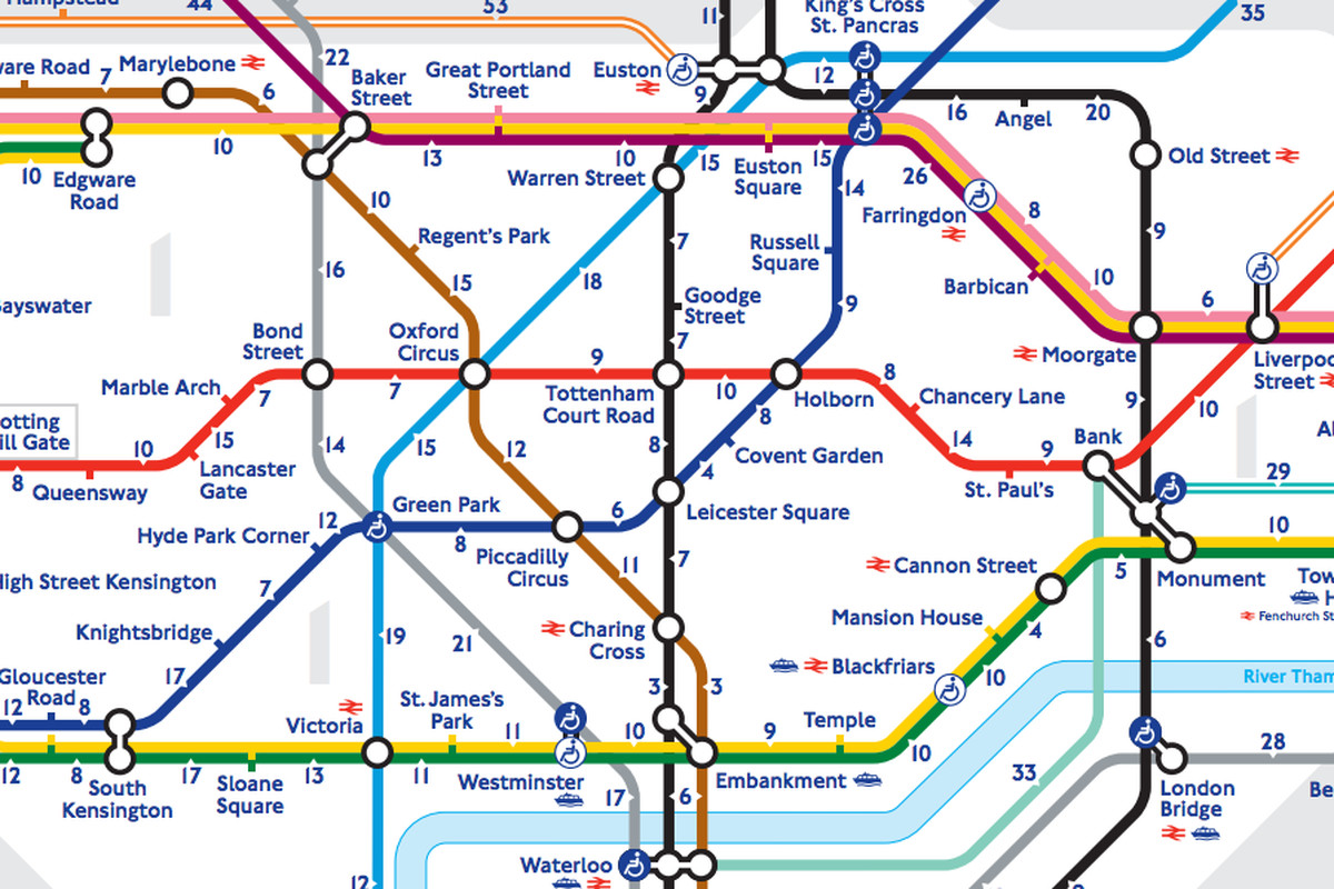 Central Line Tube Map London's 'walk the Tube' map reveals the real distance between