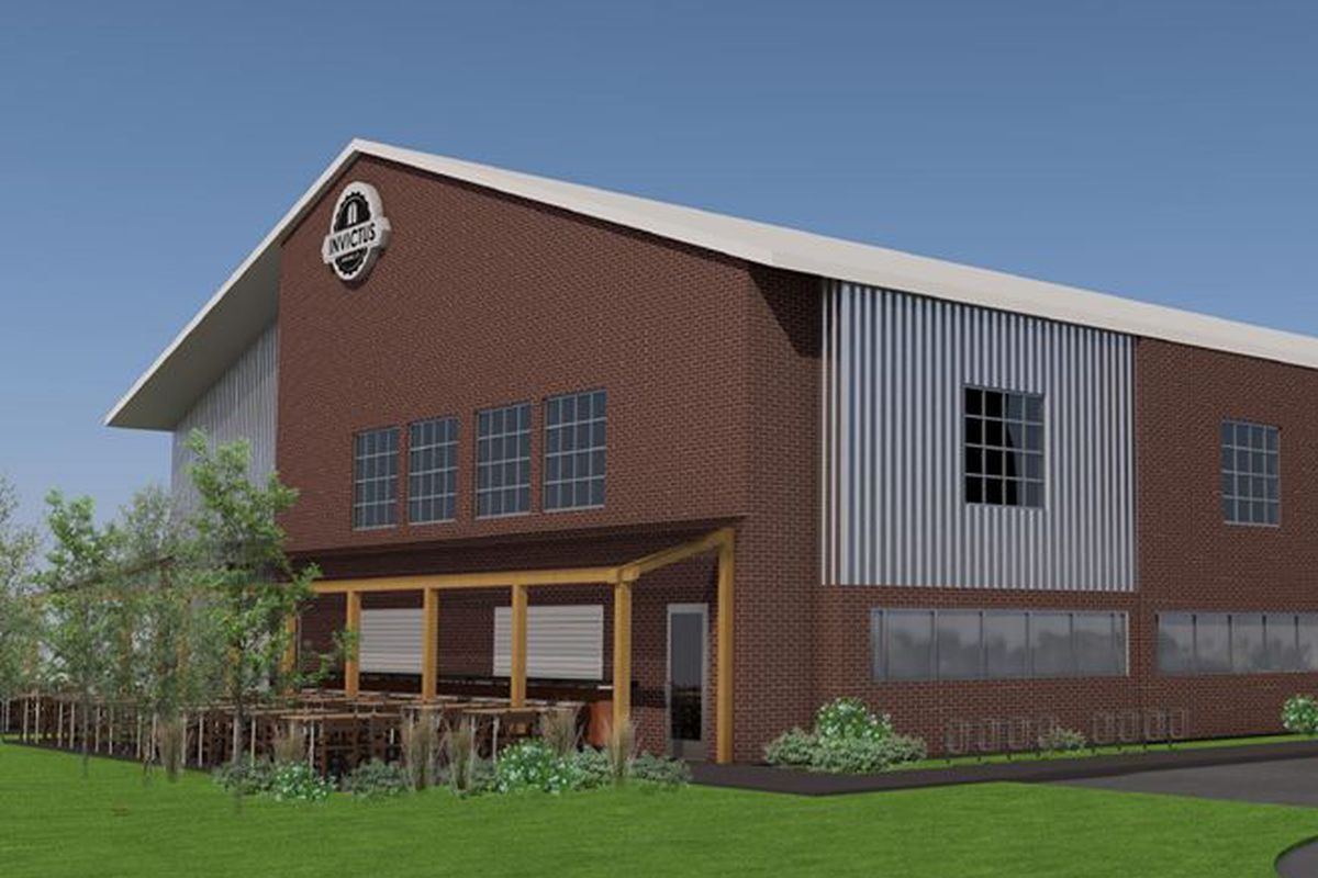 A rendering of the brewery with plenty of indoor and outdoor taproom seating.