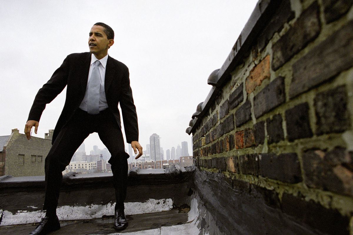 Then-Senator Barack Obama stands on a Chicago rooftop in 2004. (GettyImages)