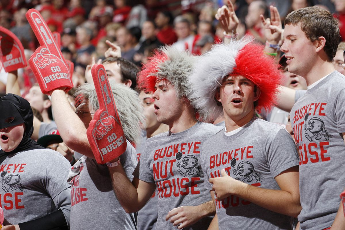 COLUMBUS, OH - NOVEMBER 15: Ohio State Buckeyes fans cheer during the game against the Florida Gators at Value City Arena on November 15, 2011 in Columbus, Ohio. Ohio State defeated Florida 81-74. (Photo by Joe Robbins/Getty Images)