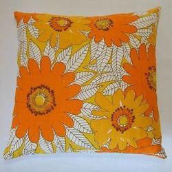 "Vera Neumann linen floral napkin pillow, <a href=""http://www.etsy.com/listing/54061297/vintage-vera-neumann-linen-floral-napkin?ref=&sref="">$46</a>."