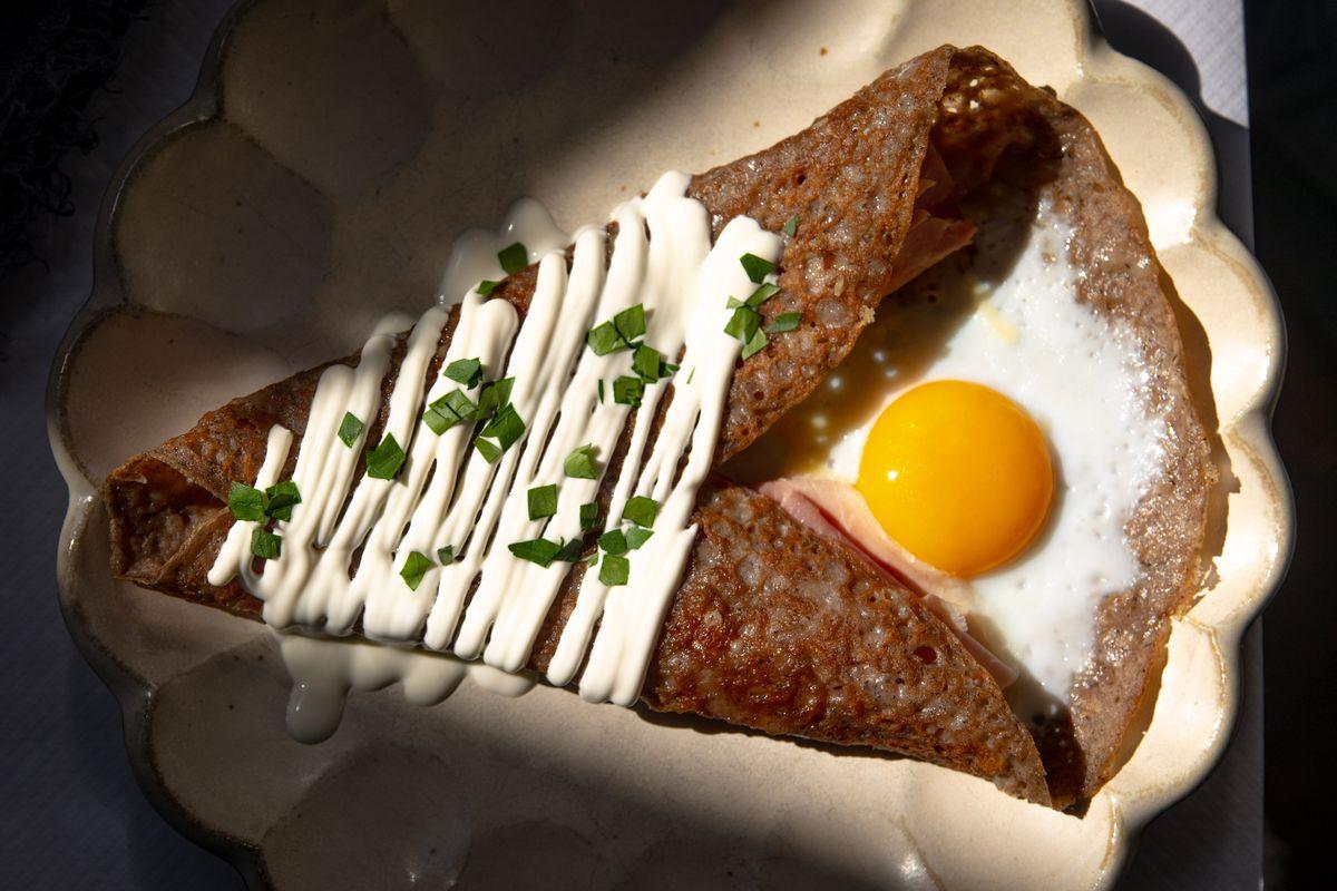 Ham, egg, and cheese crepe at La Mercerie
