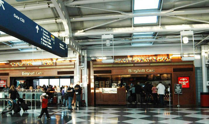 Customers inside Berghoff Cafe at O'Hare International Airport.