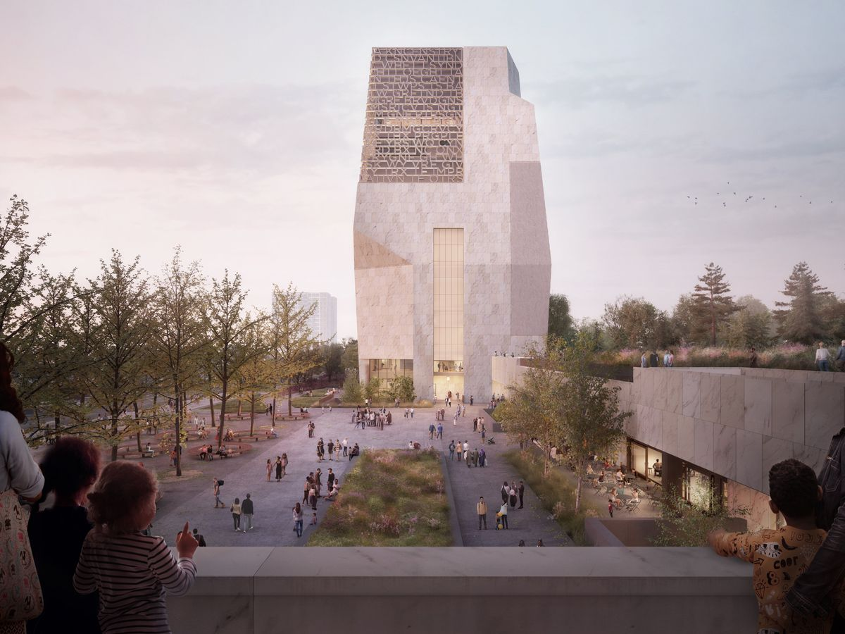 A new rendering of the Obama Presidential Center shows a trapezoidal stone tower with an angular facade and screened windows next to a plaza and lower buildings with landscaped rooftops.