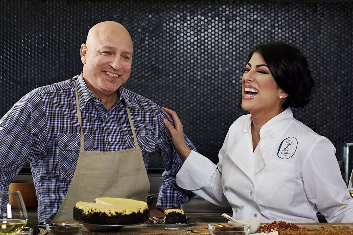 Mah-Ze-Dahr bakery's Umber Ahmad, right, with investor Tom Colicchio.