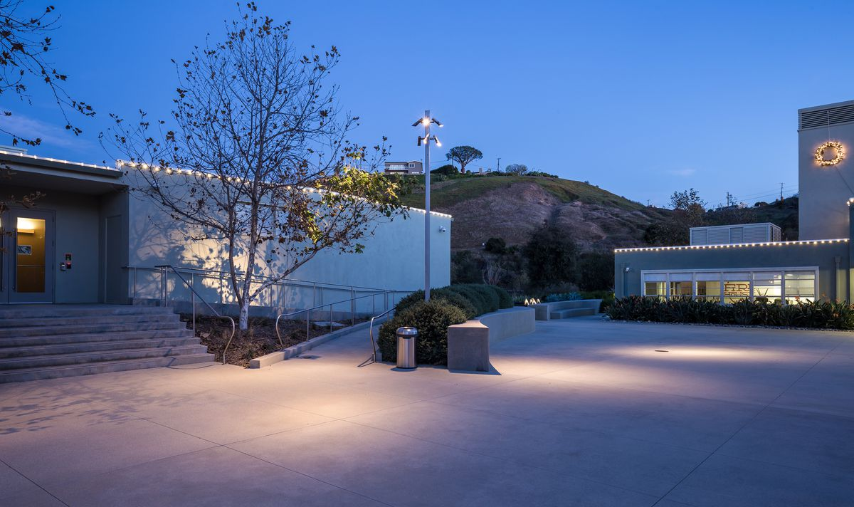 The former Kojima Productions Los Angeles office building in Playa Vista, California, with a courtyard off to the side