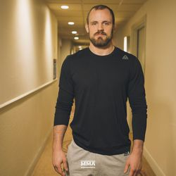 Gunnar Nelson poses at UFC 231 media day.