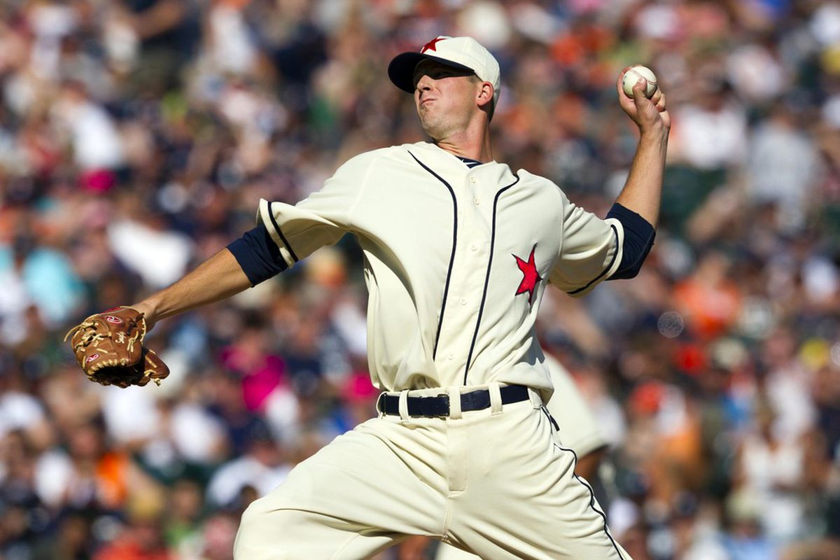 May 19, 2012; Detroit, MI, USA; Detroit Tigers starting pitcher Drew Smyly (33) pitches during the fourth inning against the Pittsburgh Pirates at Comerica Park. Mandatory Credit: Rick Osentoski-US PRESSWIRE
