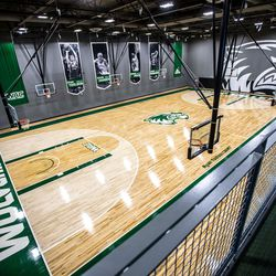 An aerial shot of the Utah Valley University Wolverines Nuvi Basketball Center on the UVU Campus in Orem, Utah.