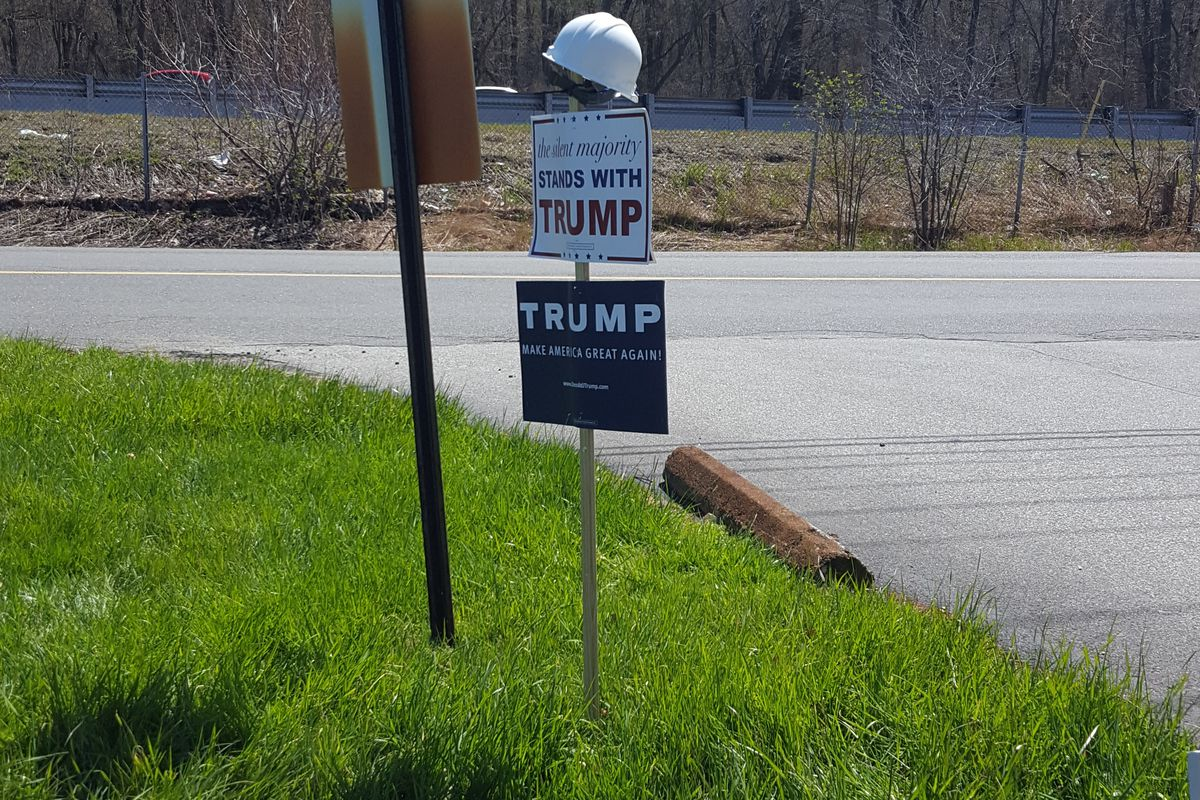 Trump signs greet the entrance to the Wakefield, MA, Elks Lodge, April 30.