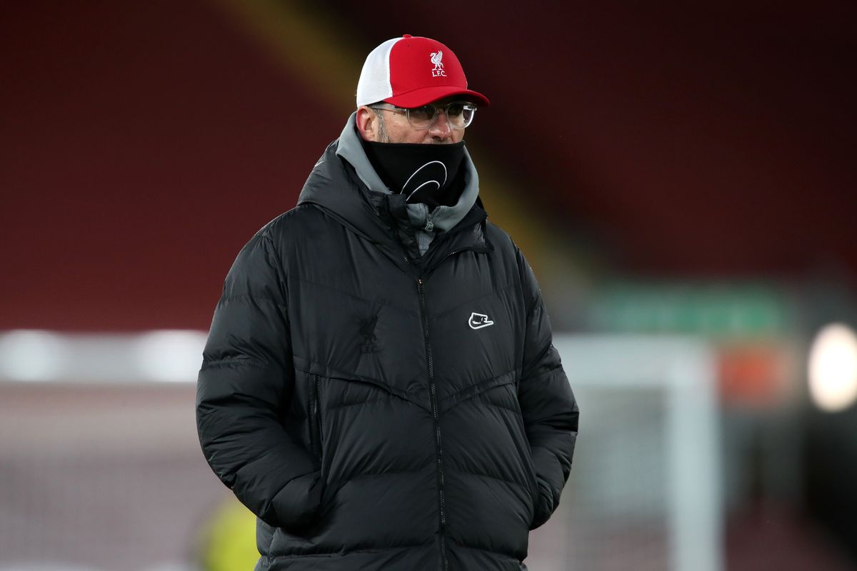 Jurgen Klopp, Manager of Liverpool looks on ahead of the Premier League match between Liverpool and Burnley at Anfield on January 21, 2021, which the Reds lost 0-1 to a late Ashley Barnes penalty.