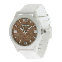 """<a href= """"http://www.zappos.com/sprout-watches-st-3401wtwtwt-white-white"""">Sprout Watches cork-face watch</a>, $55 via zappos.com"""