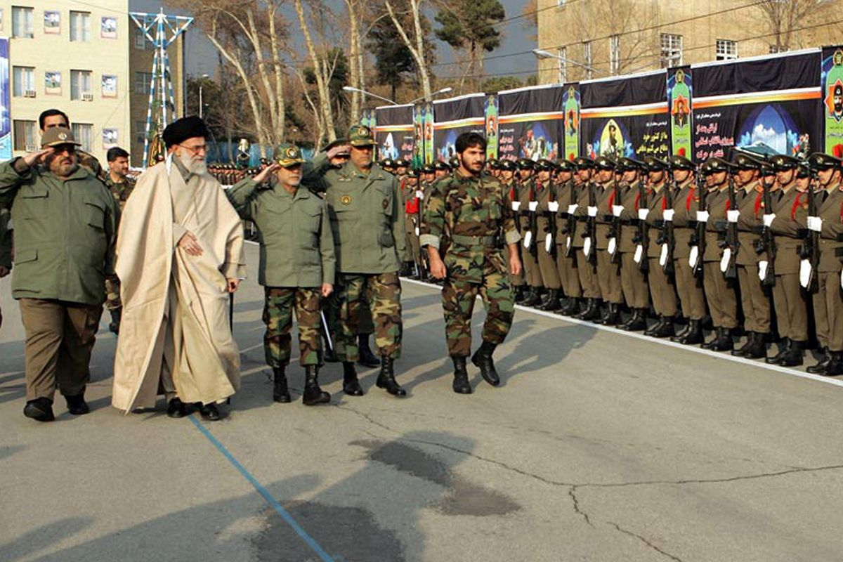 Iranian Supreme Leader Ayatollah Ali Khamenei at a 2006 military parade.