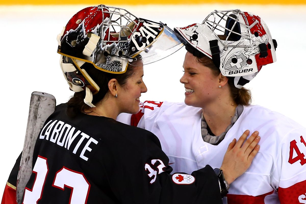 Canadian Olympic goalie Charline Labonte (left) came out publicly on Outsports earlier this year.