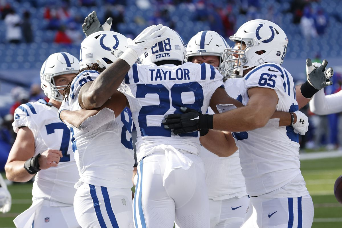 The Indianapolis Colts celebrate after Jonathan Taylor #28 scored a touchdown during the first half of the AFC Wild Card playoff game against the Buffalo Bills at Bills Stadium on January 09, 2021 in Orchard Park, New York.