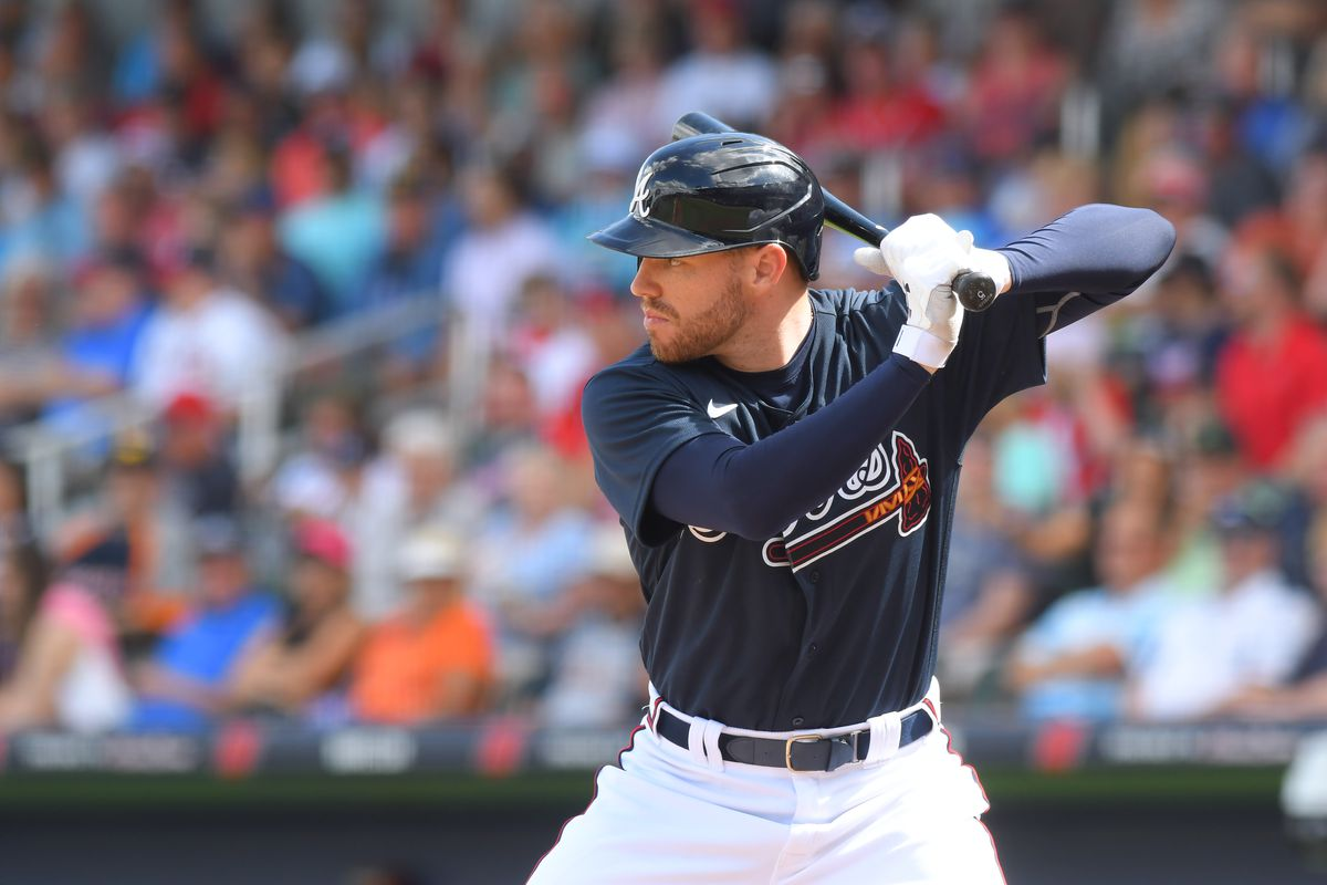 Freddie Freeman of the Atlanta Braves bats during the Spring Training game against the Detroit Tigers at CoolToday Park on February 23, 2020 in North Port, Florida. The Tigers defeated the Braves 5-1.