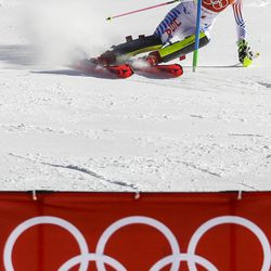 Mikaela Shiffrin, of the United States, skis during the second run of the women's slalom at the 2018 Winter Olympics in Pyeongchang, South Korea, Friday, Feb. 16, 2018.