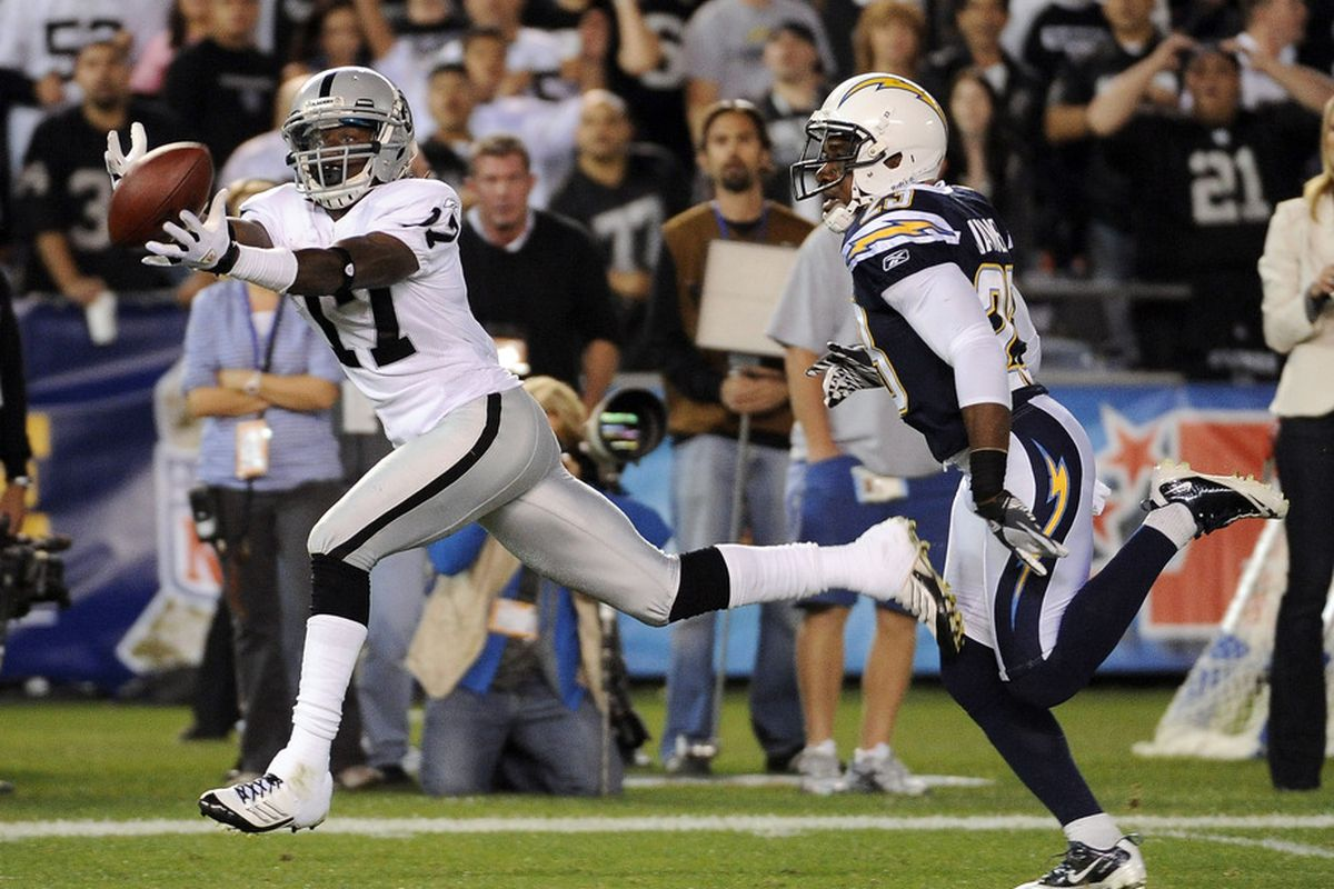 Denarius Moore #17 of the Oakland Raiders makes a catch for 47 yards in front of Quentin Jammer #23 of the San Diego Chargers.  (Photo by Harry How/Getty Images)