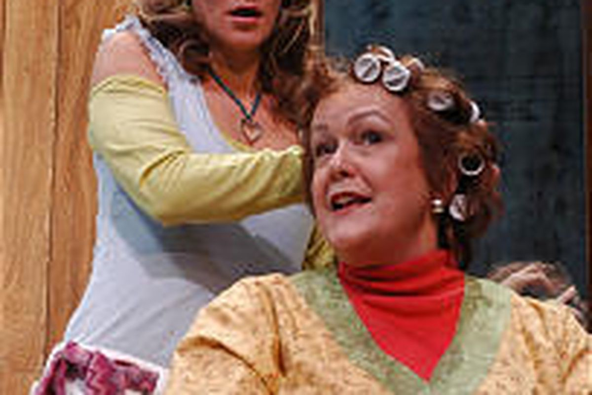 """Brenda Sue Cowley as Annelle, left, and Pamela Dunlap as Clairee in PTC's """"Steel Magnolias."""""""
