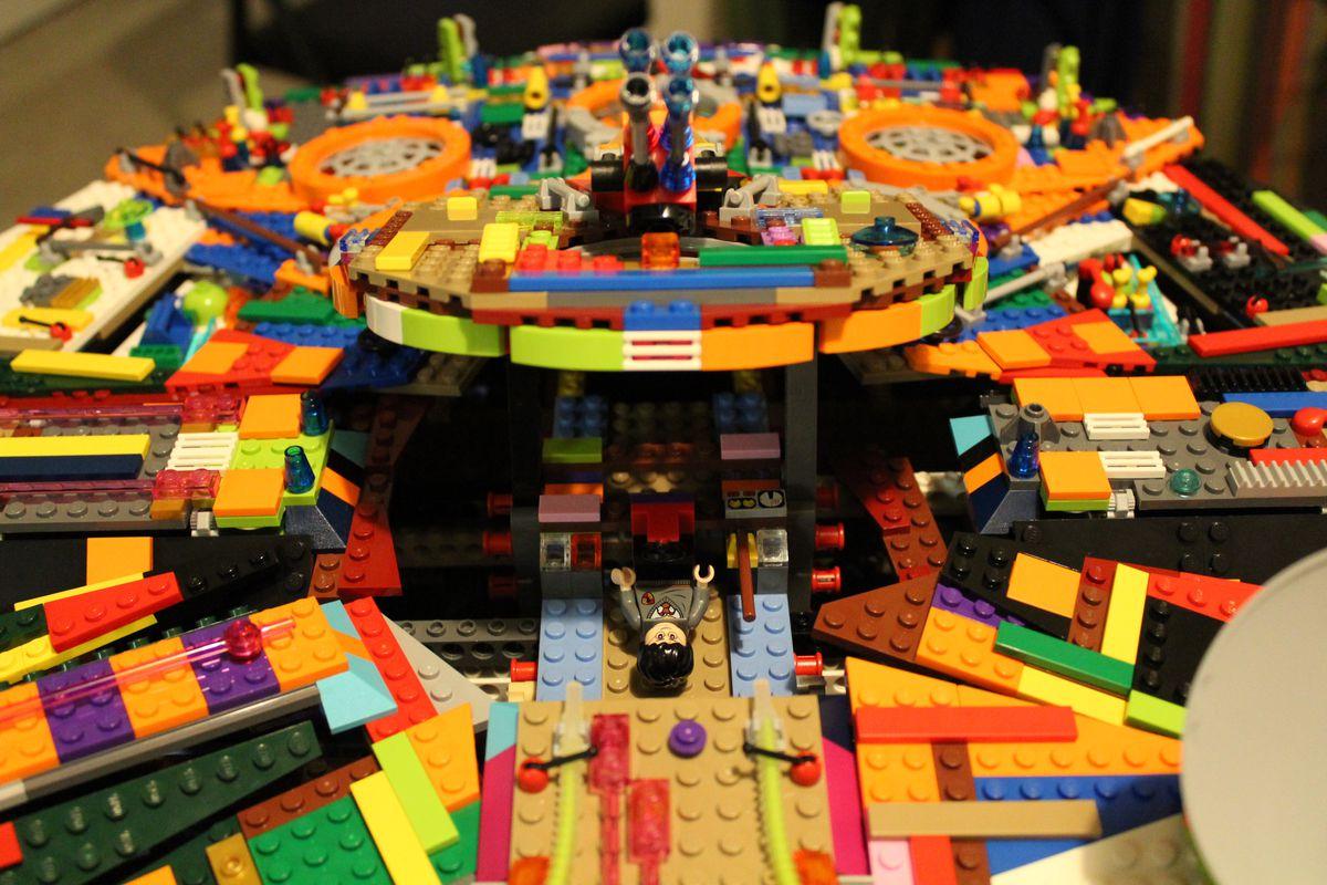 Harry Potter mans the guns on this Lego Millennium Falcon